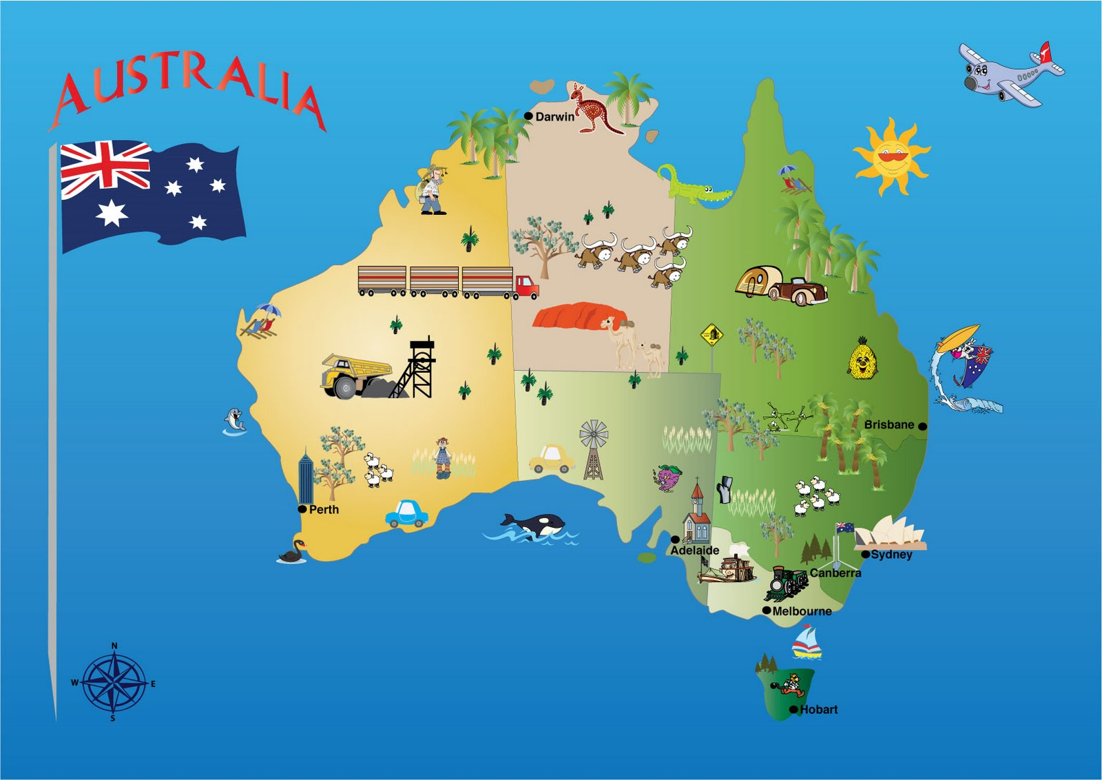kids map of australia Karte Australien