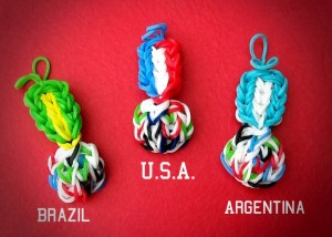 World Cup Loom Band Keychains