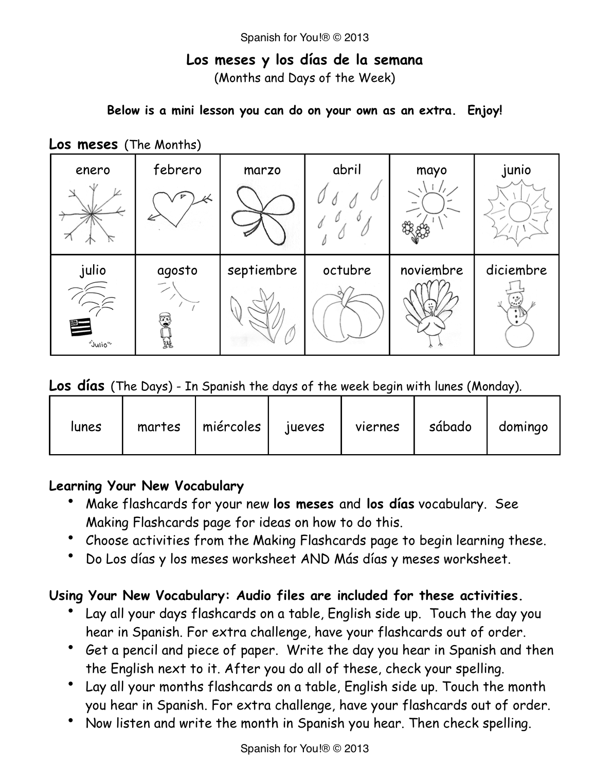 Worksheets Learning Spanish Worksheets months and days of the week in spanish mommymaleta spanish