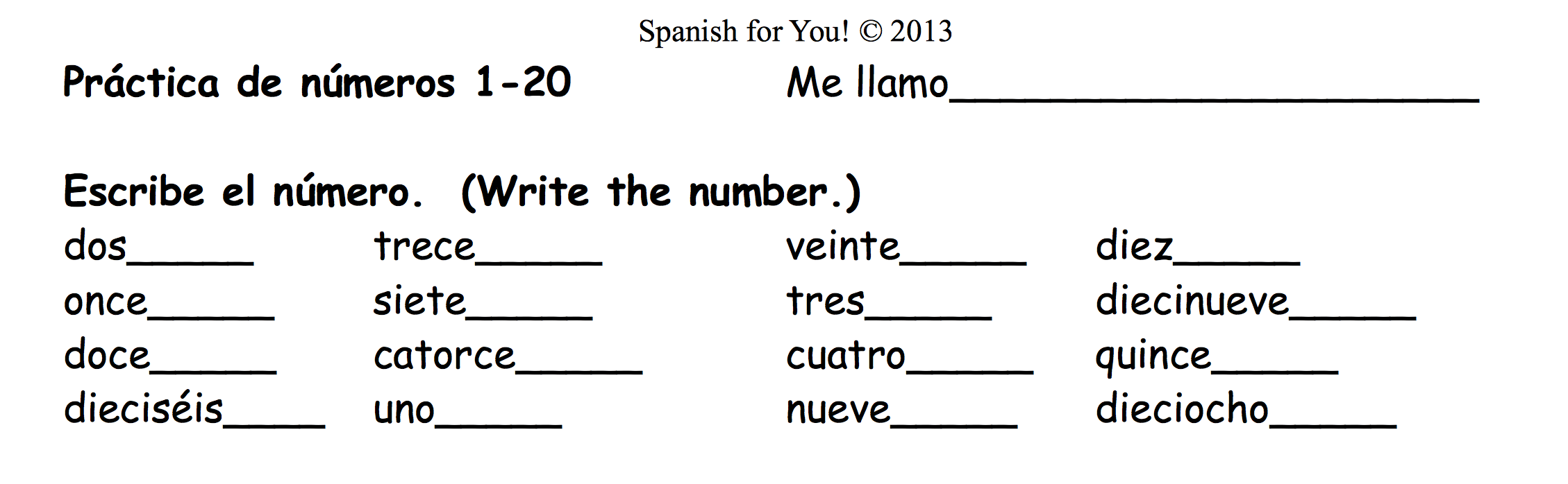 Printables Spanish Numbers Worksheet spanish homework worksheet view full image