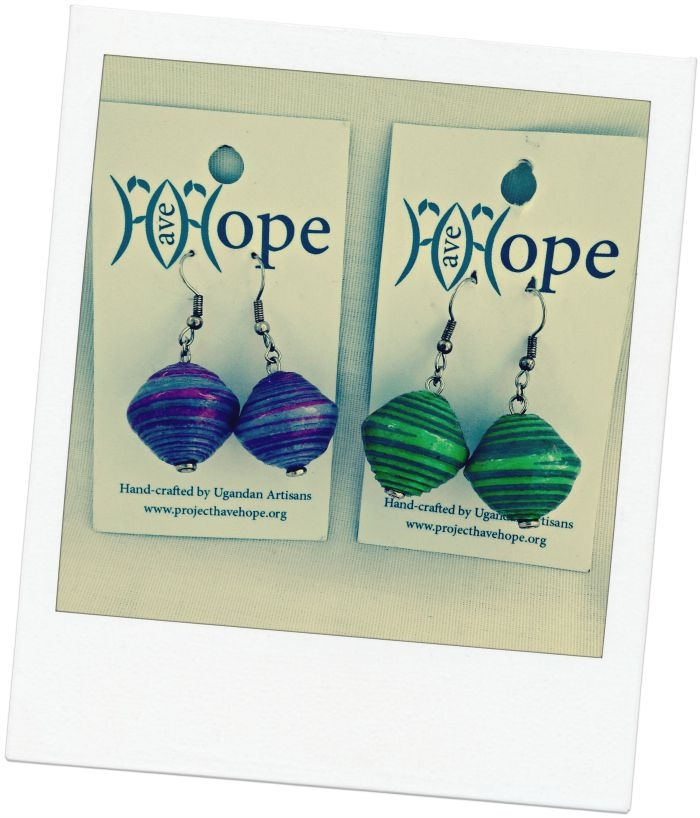 These earrings are just a sample of the beautiful handcrafted fair trade jewelry Sarah sells at her company International Blessings.