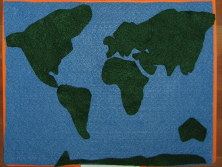 Felt map of the world