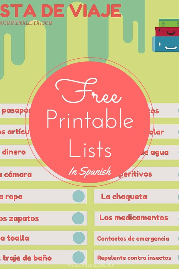 Freebie Printable Lists In Spanish - MommyMaleta