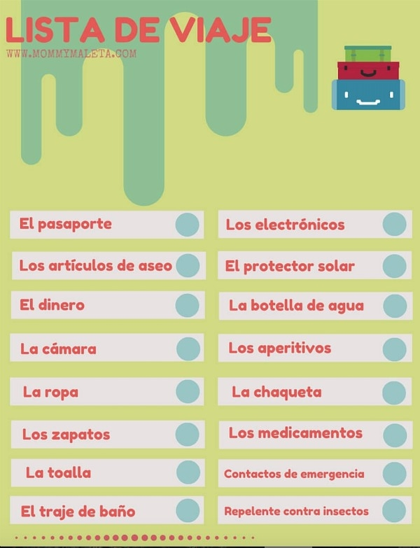 Fun packing list in Spanish with essentials for your next travel adventure.