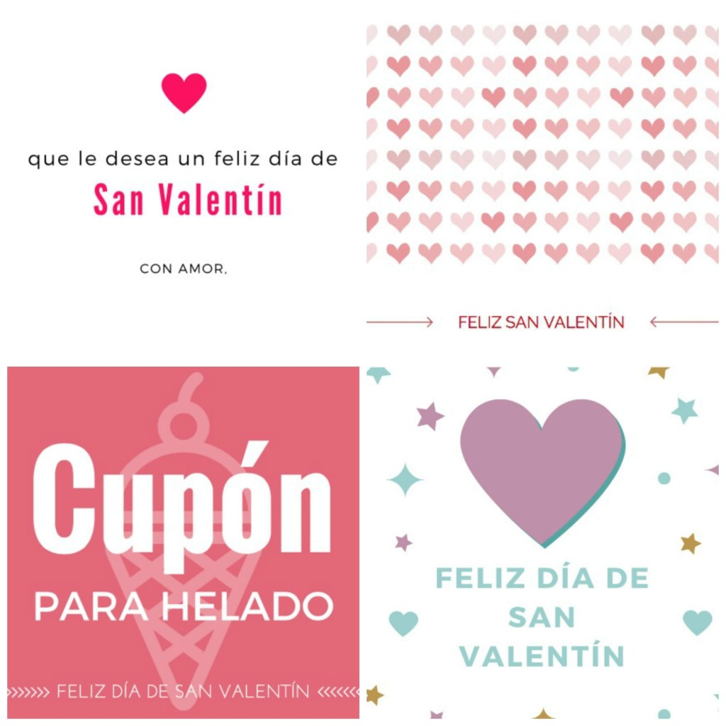 Send I love you and Happy Valentine's Day greetings with a set of free valentine printables in Spanish