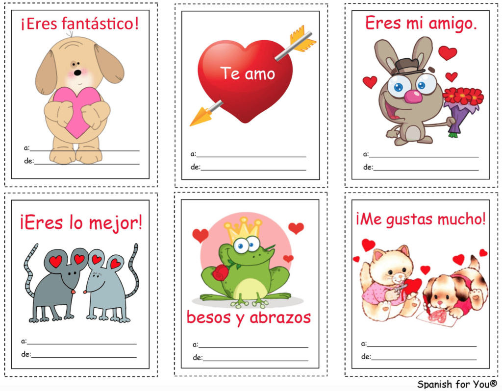 Fun valentines in Spanish to pass out to classmates.