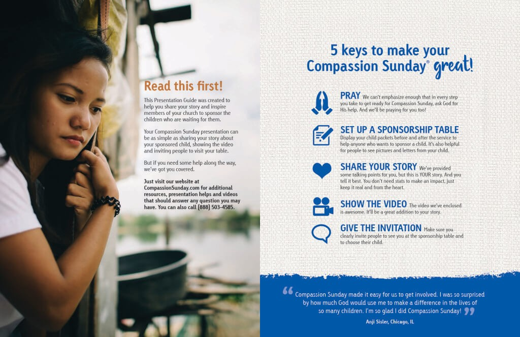 This FREE Compassion Sunday Planning guide will tell you everything you need to know so that you and your church can find sponsors for waiting children.