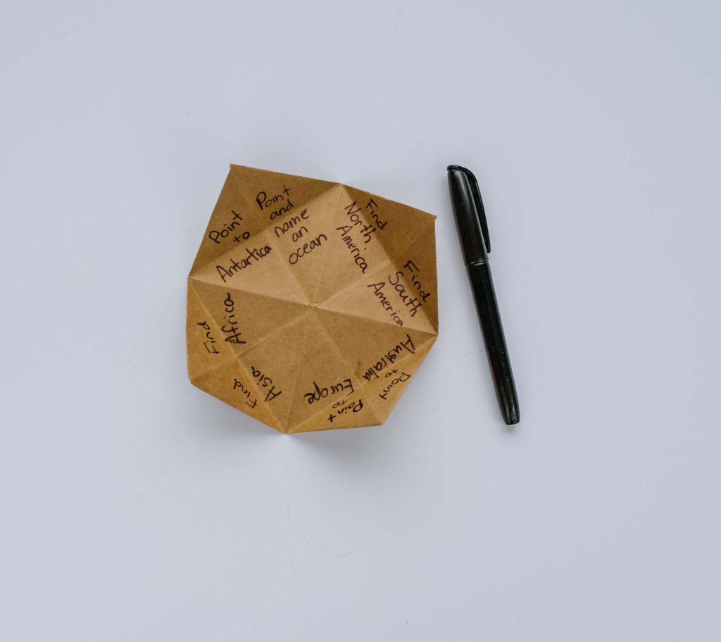Do you remember playing with these origami fortune tellers as a kid? Well...surprise! They make a great geography lesson for kids. Teach your kiddos the seven continents and more with a few folds of paper.