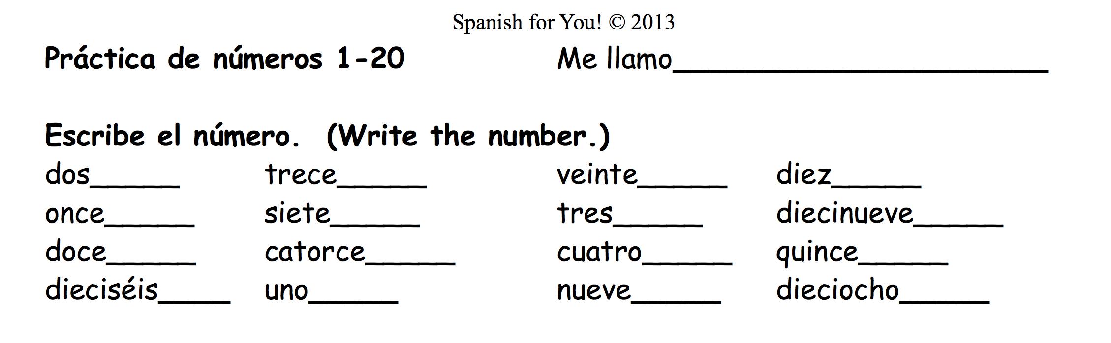 Workbooks number practice worksheets : Spanish Numbers Practice Worksheet Free Worksheets Library ...