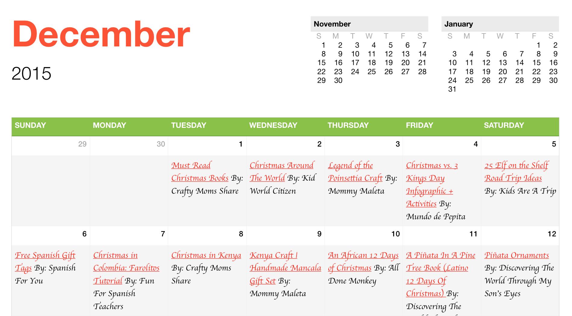 Christmas Around The World Interactive Calendar - MommyMaleta